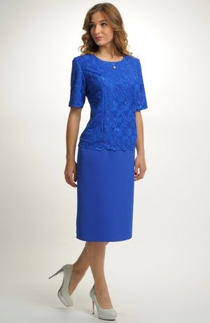 Dámské elegantní šaty pokryté luxusní elastickou krajkou