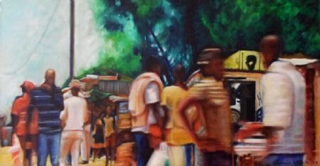 """Township Tango 2, Oil on Canvas, W: 610mm x H: 310mm x D: 40mm, W: 24"""" x H: 12"""" x D: 2"""" #Art #Painting #Oil #Fine_Arts #Contemporary #Benjamin_Mitchley #Figurative #South_Africa #Township_Art"""