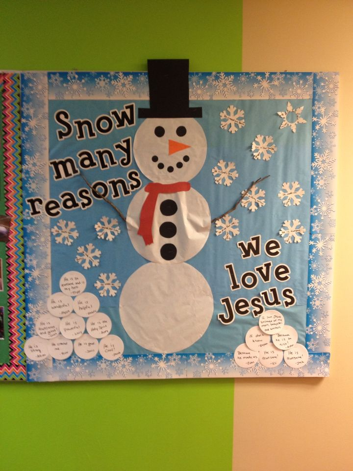Winter bulletin board for your Children's Ministry.  On the snowballs and snowflakes I wrote reasons why our kids at church love Jesus.  Great answers that included:  because he made us, he is awesome, he is our Savior, he died for us as well as others.