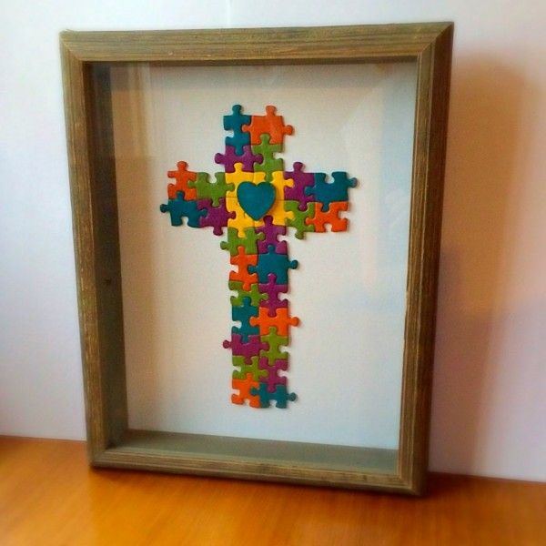 Recycled puzzle piece art                                                                                                                                                                                 More