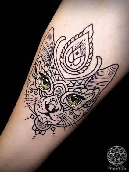 cat goddess tatt
