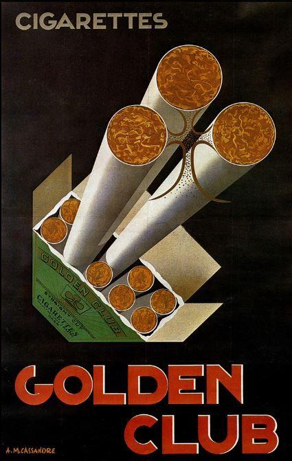 Golden Club Cigarette Advert by A.M. Cassandre, 1925