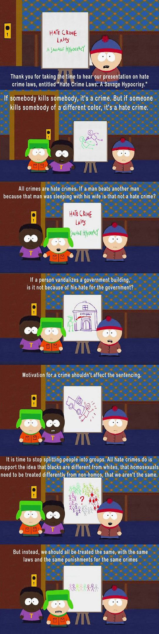 South Park Nails It, Hypocrisy of Hate Crime Laws