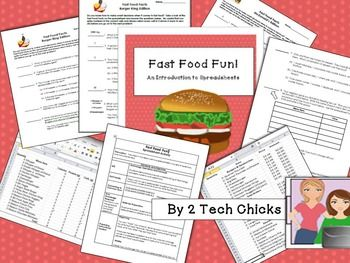 New from 2 Tech Chicks! Introduce your students to spreadsheets with these high interest activities!  Included are two spreadsheets of data from Burger King (nutritional information) and McDonalds (prices).  Students will learn how to guess and check (predict) and enter values correctly in order to answer questions.