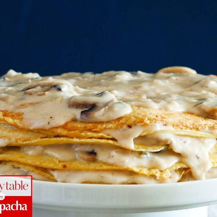 Creamy Onion and Mushroom Crepe Pie #kosher | www.kosher.com