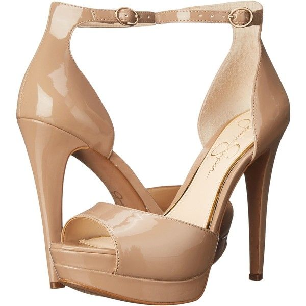 Jessica Simpson Sylvian (Nude Patent) Women's Shoes ($45) ❤ liked on Polyvore featuring shoes, sandals, beige, beige sandals, beige high heel sandals, jessica simpson sandals, nude platform shoes and patent leather sandals
