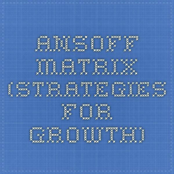 Ansoff Matrix (strategies for growth)