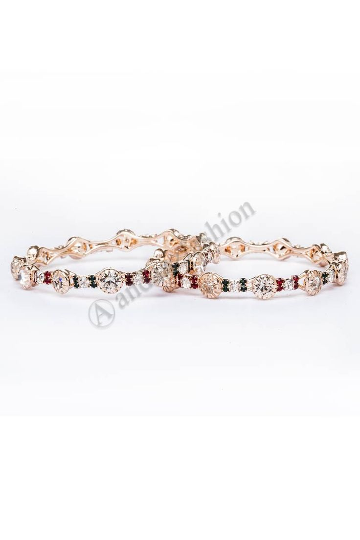 Crystal studded 2 piece bangle set. Design No. 80418 Price:- £7.00 For More Details:- http://www.andaazfashion.co.uk/jewellery/bangles/crystal-studded-2-piece-bangle-set-80418.html