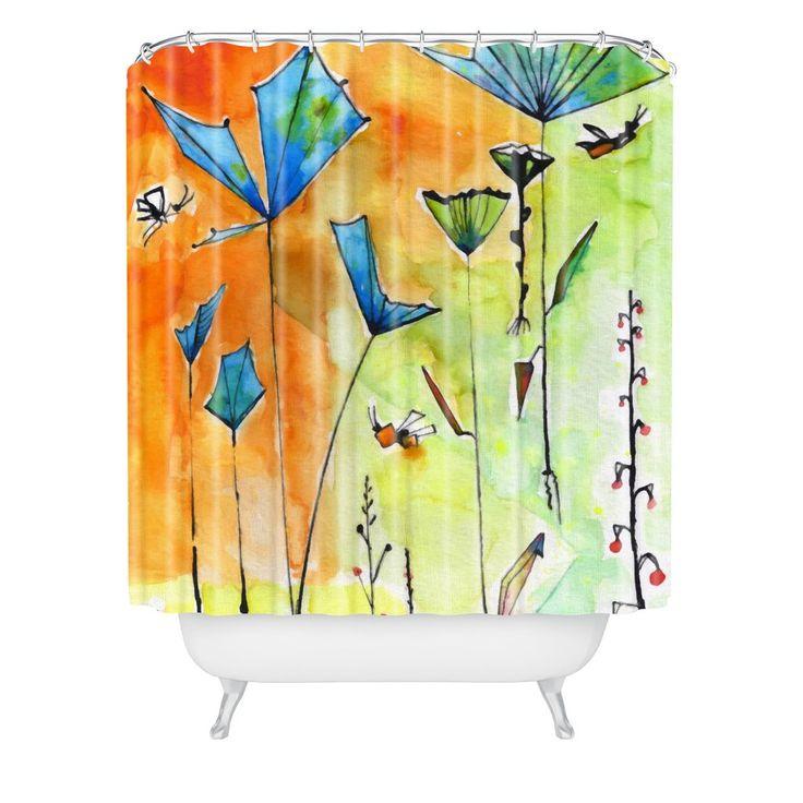 Ginette Fine Art Miro Poppy Land Shower Curtain | DENY Designs Home Accessories