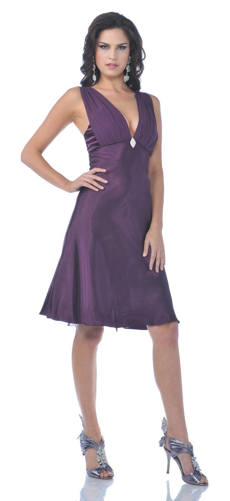 Plum Knee Length Dress – fashion dresses