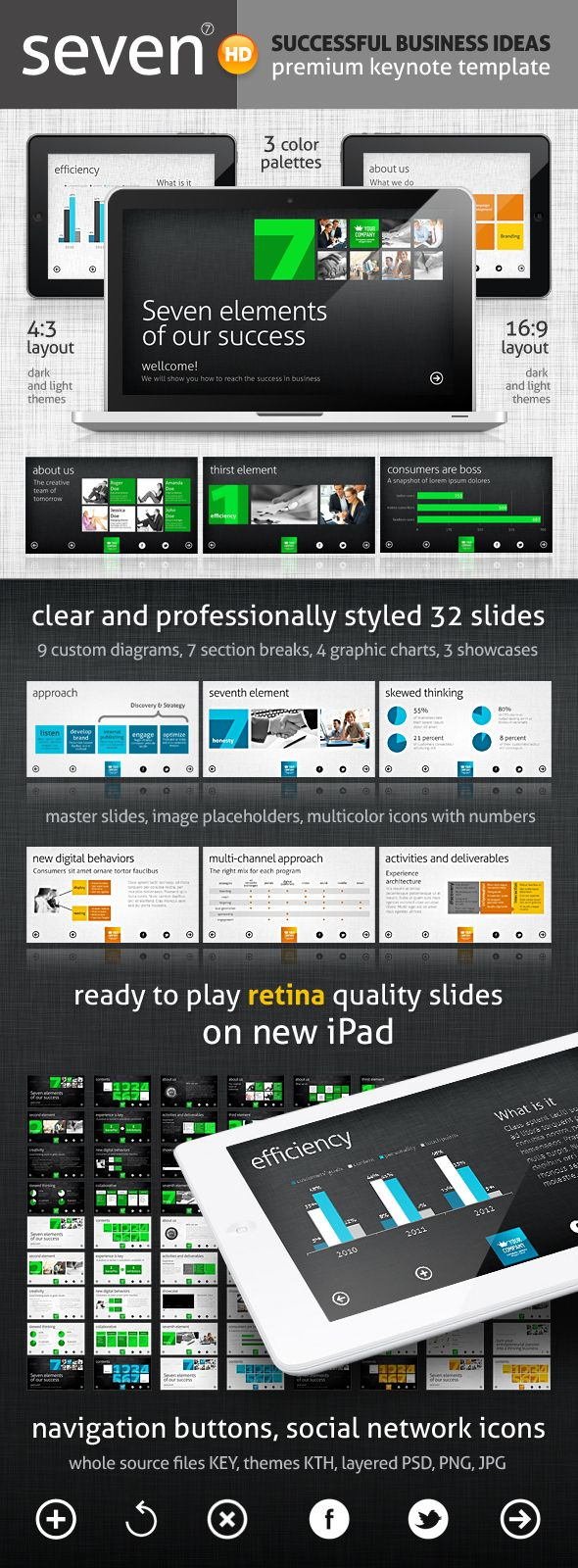 12 best powerpoint inspiration images on pinterest presentation seven keynote template by swanex exclusive metro design style presentation template ideal for business personal and corporate use toneelgroepblik Image collections