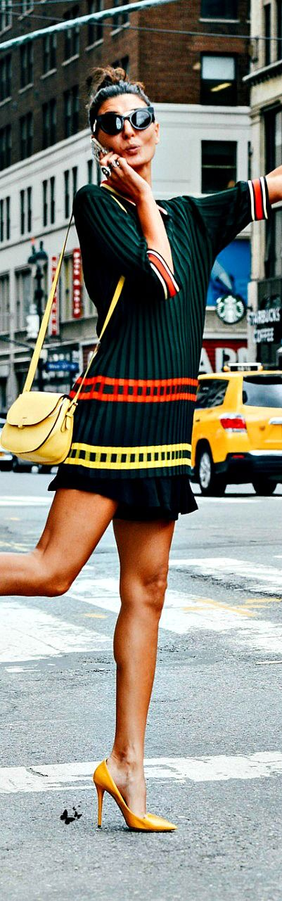 street style Love the color, the flirty skirt, pop of unexpected color in shoes.  Cute!