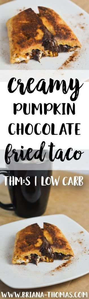 Creamy Pumpkin Chocolate Fried Taco - THM:S - low carb - low glycemic - pumpkin, cream cheese, and chocolate in a crispy fried taco! - coconut oil - sugar free - Trim Healthy Mama friendly