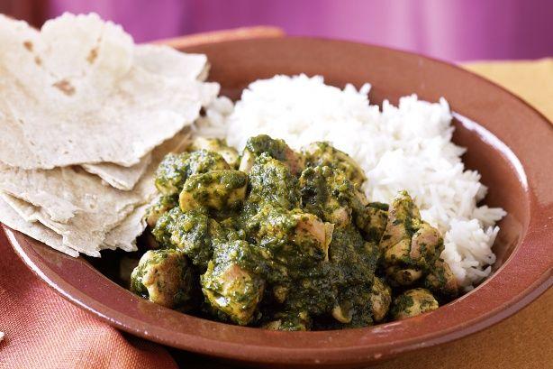 Chicken Saag: Add Coriander, Cumin, Curry, Cinnamon Stick, 2 bay leaves, whole clove, whole cardamom, chili powder, cayenne powder