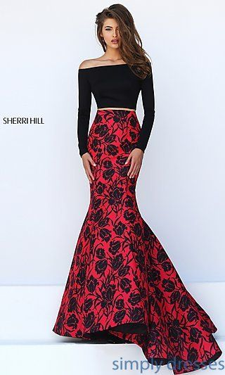Two Piece Black and Red Print Mermaid Gown by Sherri Hill
