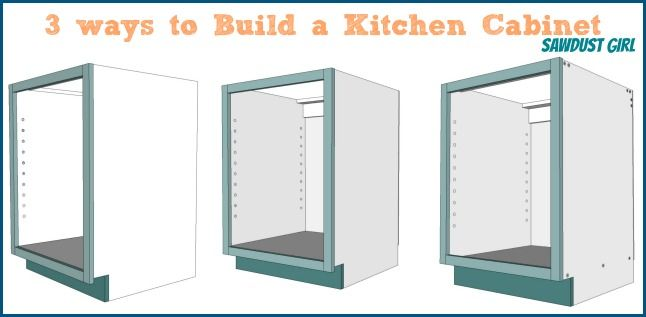 Three ways to build a basic kitchen cabinet - - free and easy plans from https://sawdustgirl.com.