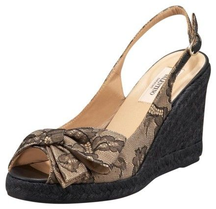 Valentino Bow Open Toe Sling Back Champagne W/Black Lace Overlay Wedges on Sale, 66% Off | Wedges on Sale