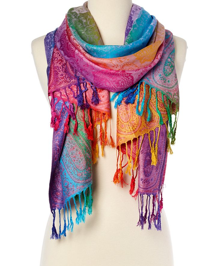 Take a look at this Italmode Purple & Jewel-Tone Paisley Fringe Scarf today!