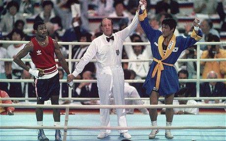 Roy Jones (lef) - How could an Olympic boxing bout be fixed? -- Seoul, 1988