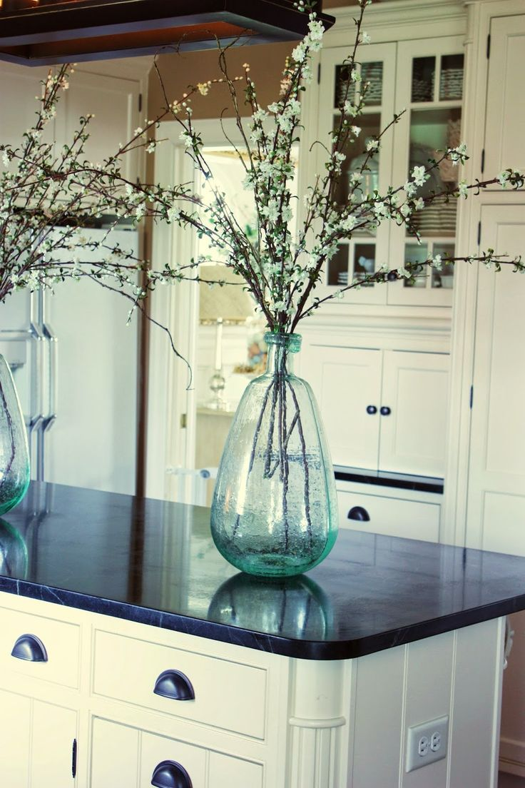10 Elements Of A Farmhouse Kitchen Glass Vase Cherry Blossoms And Classic
