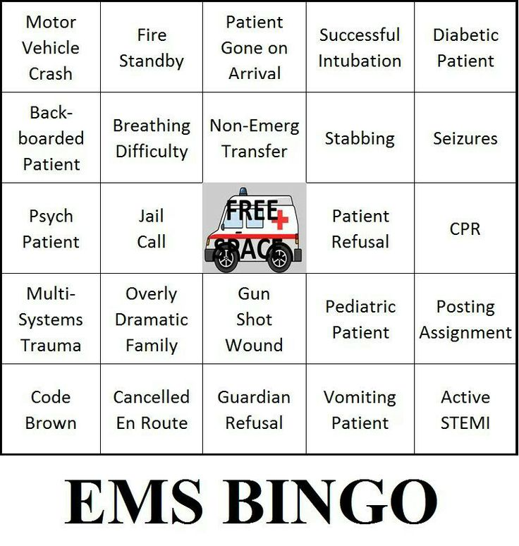 EMT~BINGO | ☤ E.M.S ☤ MY SON ☤ | Ems week, Emergency ...