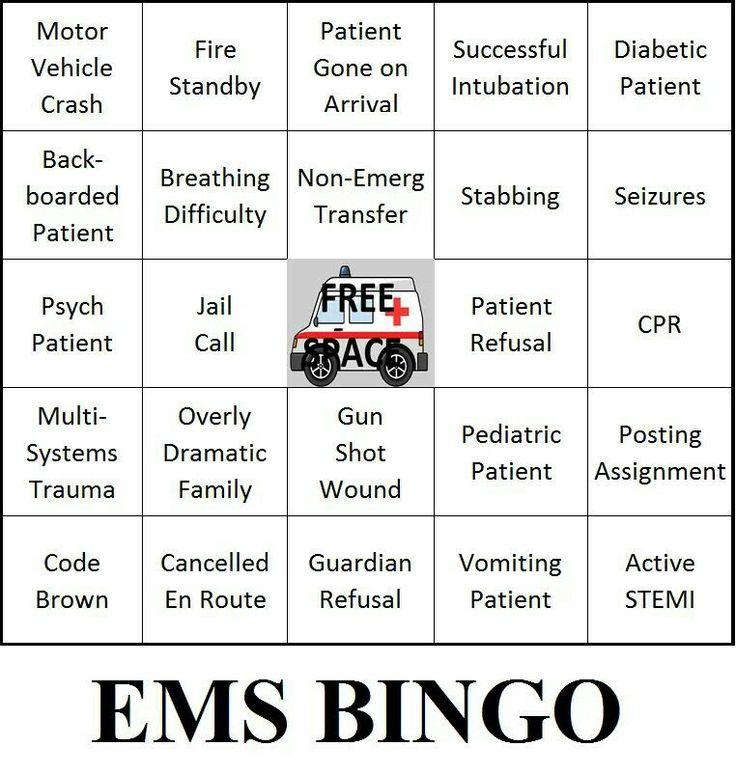 EMT~BINGO   ☤ E.M.S ☤ MY SON ☤   Pinterest   Plays