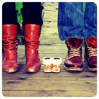 pregnancy announcement (I would do it with all in cowboy boots!)