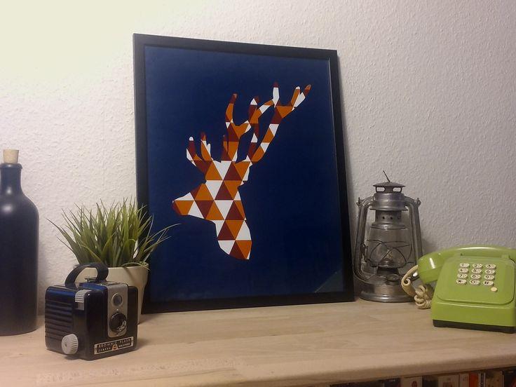 Poster cerf géometrique sur papier mat satiné