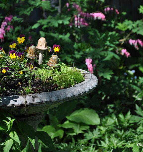 Birdbath Fairy Garden Via Three Dogs In A