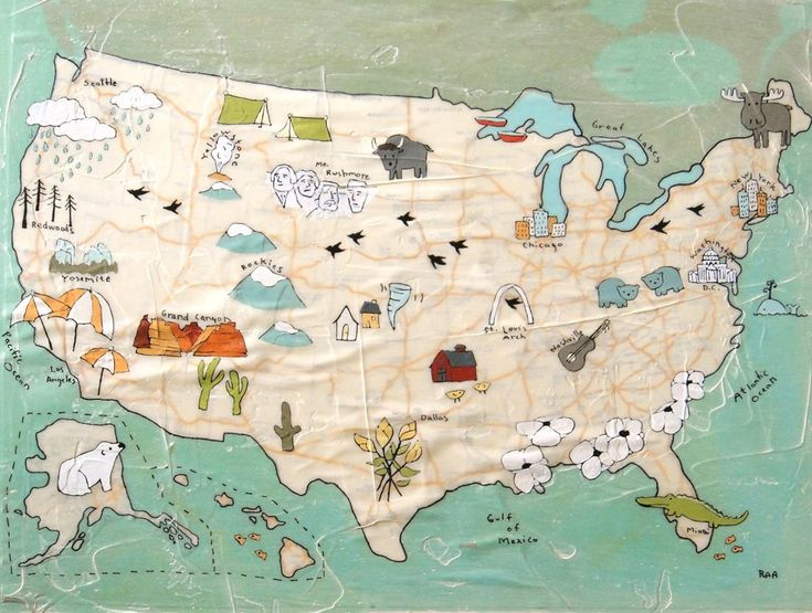 Best Illustrated Maps Images On Pinterest Illustrated Maps - Artistic map of us