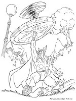 Gambar Mewarnai Thor Membuat Angin Topan Dengan Putaran Palu Miliknya
