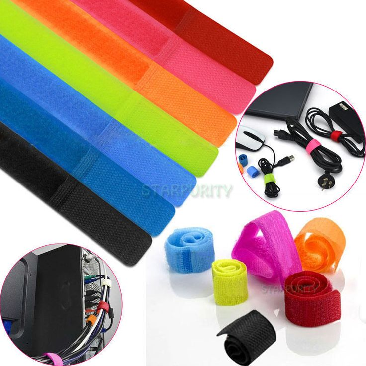 Colors! 7-100Pcs Velcro Cable Cord Tie Strap Wire Rope Organiser Holder Trim PC #Starpurity