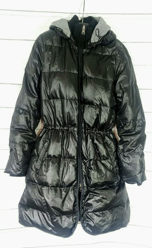 Banana Republic Womens Long Black Down Puffer Coat Hooded