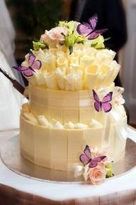 Beautiful :)Chocolates Cake, White Chocolates, Cake Wedding, Butterflies, Pretty Cake, Chocolates Wedding Cake, Cake Design, Cake Decor, Wedding Cakes
