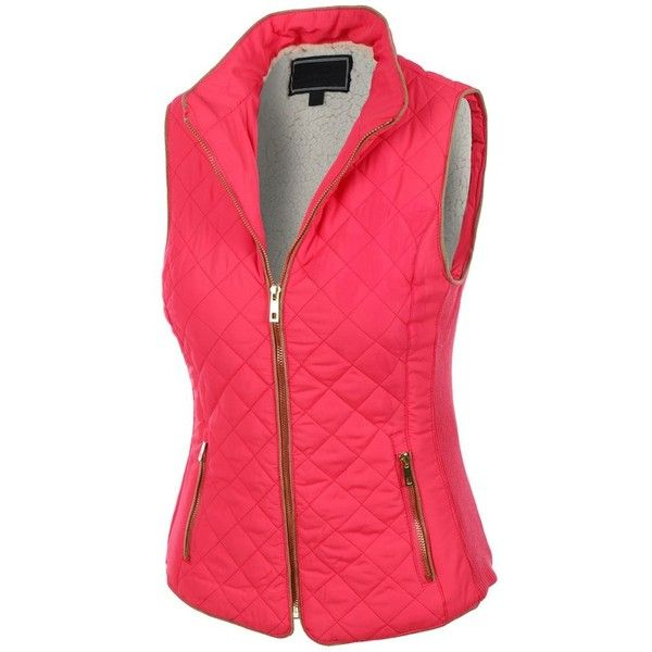 LE3NO Womens Lightweight Quilted Puffer Jacket Vest with Pockets ❤ liked on Polyvore featuring outerwear, vests, red quilted vest, puffy vest jacket, lightweight quilted vest, pocket vest and quilted zip vest