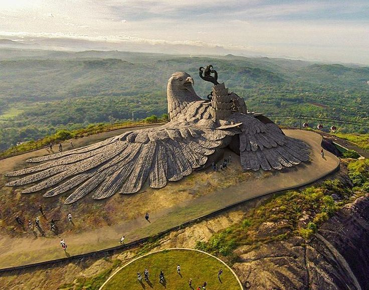 Jatayu Nature Park, Kollam, Kerala, India. This is one of the biggest bird sculpture in the world. Locals believe that Jatayu fell there after being struck by Ravan while rescuing Sita.