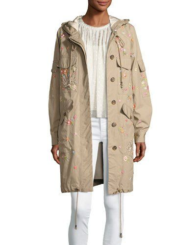 Dragonfly Embroidered Military Parka, Beige