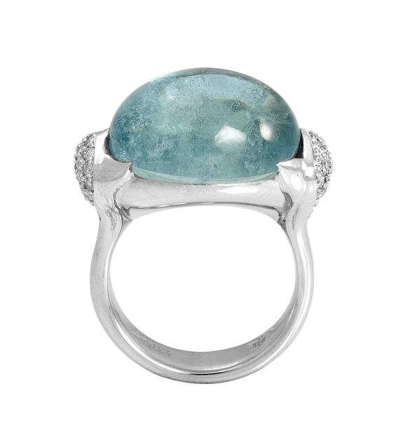 One of a kind Aquamarine Cabochon ring. Hand made 'lotus' setting.