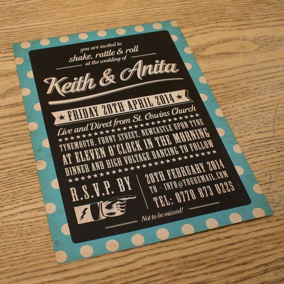 Perfect Spotty Themed Vintage Retro Wedding Invitations By Magikstationery, $3.00