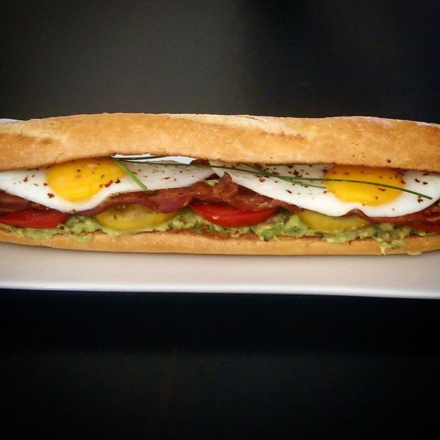 Can't B.E.A.T. this sandwich!  Bacon, Egg, Avocado & Tomato combine deliciously on a sourdough baguette. Now I need to get to the gym and burn it off! @zimmysnook