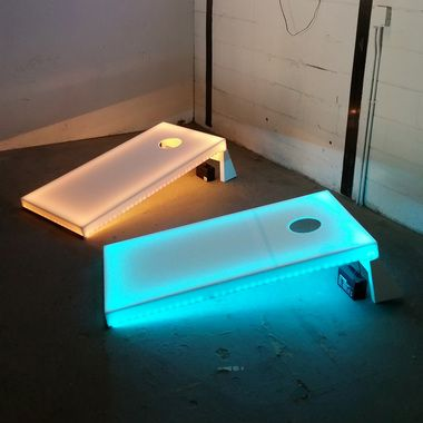 Light Up cornhole boards that change colors with remote control
