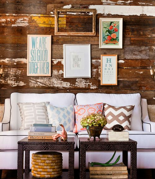 Great groupings.: Distressed Wood, Coffee Tables, Small Tables, Living Rooms, Rustic Wall, Burlap Pillows, Wooden Wall, Wood Wall, White Couch