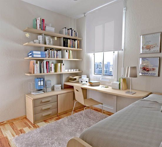 Clean white study room #bedroom
