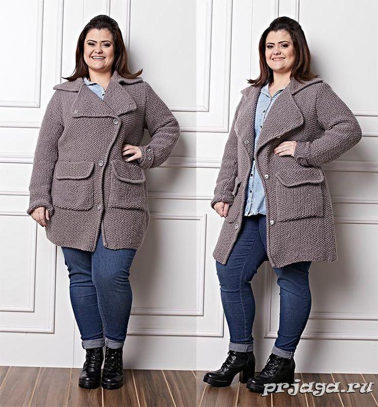 Пальто спицами для полных женщин