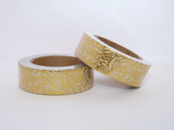 Washi tape gold foil rose floral flower decorative scrapbooking planner supplies 15mm x 10m geometric pattern