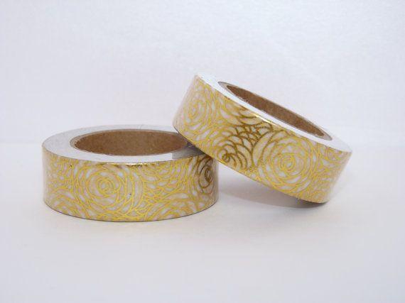 Washi tape gold foil rose floral flower decorative scrapbooking planner supplies 15mm x 10m geometric pattern