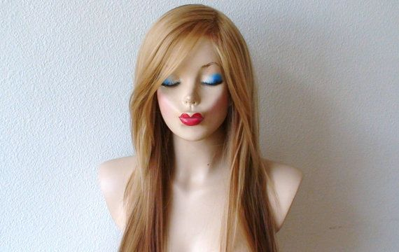 Ginger red Golden blonde long straight layered hair by kekeshop, $97.50