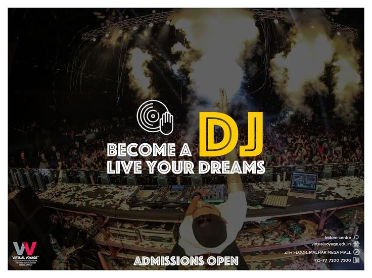 Music, Beats, And Crazy Fun.. Planning on becoming a DJ? Join the best DJ training College & Learn from the COOLEST DJs in India Now Admissions Open For Fresh Batches Call- 7771007100 OR Write your names in the COMMENTS below, our team will get back to you asap!  OR Visit Virtual Voyage College of Design, Media, Art & Management at 4th Floor Malhar Mega Mall, AB road, Indore Live Your DREAMS!