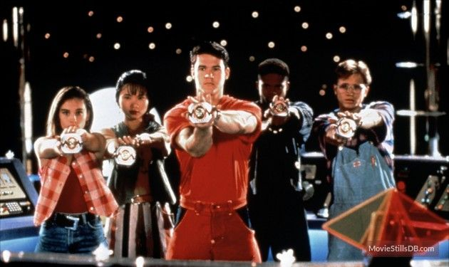 Mighty Morphin' Power Rangers publicity still of Amy Jo Johnson, David Yost and others