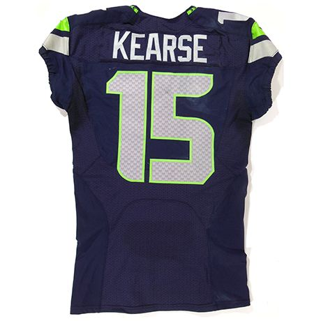 Jermaine Kearse Game-Worn #15 Jersey – 1.19.14 vs. San Francisco 49ers      In the 4th quarter of the 2014 NFC Championship game, the Seattle Seahawks gained their first lead of the game on fourth and seven with a 35 yard touchdown pass from Wilson to Wide Receiver Jermaine Kearse. The Seahawks retained the lead the rest of the way with a score of 23-17 in front of a record setting crowd of 68,454.      Game-Worn Jersey: This jersey is game-worn and in the exact condition when the player …